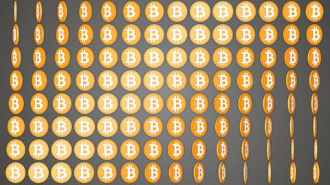 Bitcoin cryptocurrency grey background rotating coins pattern Animación