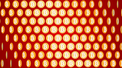 Bitcoin cryptocurrency red background rotating coins pattern Animation