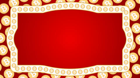 Bitcoin cryptocurrency red background vintage border frame banner Animation