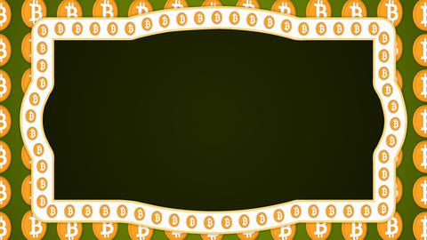 Bitcoin cryptocurrency green background vintage border frame banner Animation