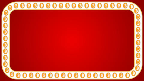 Bitcoin cryptocurrency red background rectangle border frame banner Animation