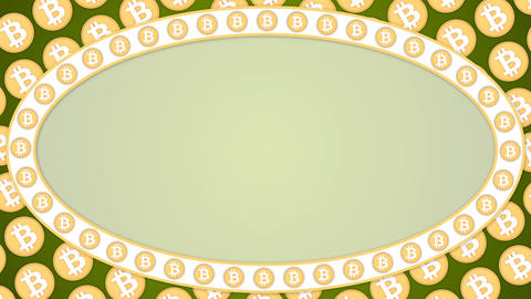 Bitcoin cryptocurrency green background ellipse border frame banner Animation
