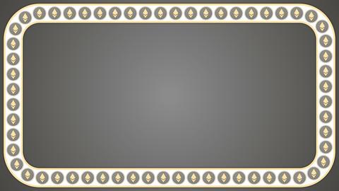 Ethereum cryptocurrency grey background rectangle border frame banner Animation