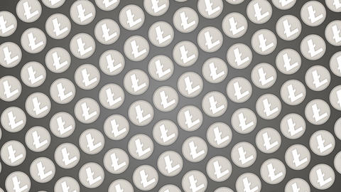 Litecoin cryptocurrency background coins traffic diagonal pattern Animación