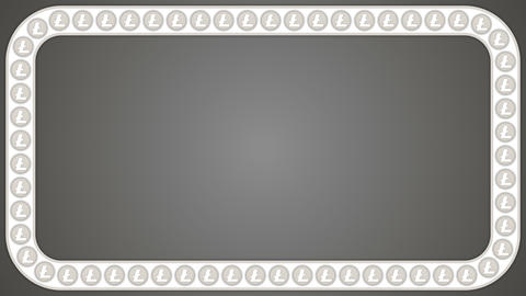 Litecoin cryptocurrency background rectangle border frame Animation