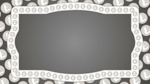 Litecoin cryptocurrency background vintage border frame Animation