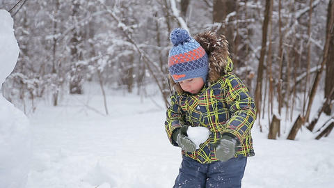Beautiful cheerful boy with snowman Footage