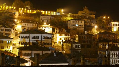 Night Timelapse, Traditional Ottoman Anatolian Village, Safranbolu, Turkey Footage