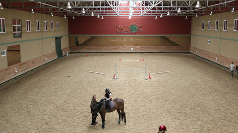 learning horse riding course, timelapse Footage
