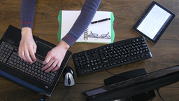 Overhead Of Man Working At Desk 4k stock footage