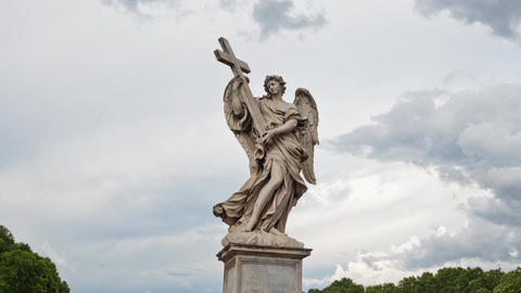 Rome Timelapse 4k - Angel with the Cross on the Bridge of Hadrian - Ponte Sant