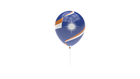 Marshall Islands Balloon Rotating Flag Animation - Alpha Channel - Transparent Animation