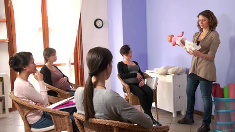 Course For Pregnant Expectant Women Moms Mother Learning Diaper Use Footage