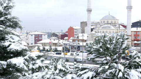Snow raining over istanbul, turkey, snowy day Footage
