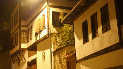Night View of Traditional Ottoman Anatolian Village, Safranbolu, Turkey Footage