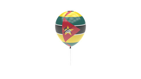 Mozambique Balloon Rotating Flag Animation - Alpha Channel - Transparent Animation
