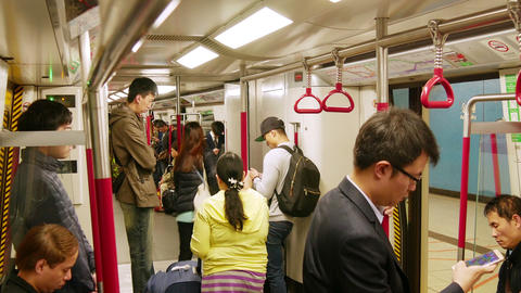 Passengers in the subway of Hong Kong Footage