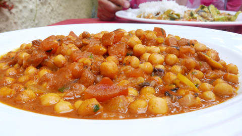 Chickpeas in tomato sauce Healthy vegetarian food Stock Video Footage