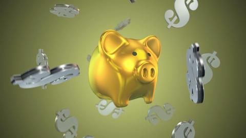 Piggy bank dollars flying money Footage