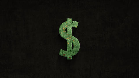 rusting over time dollar sign on a grunge background Animation