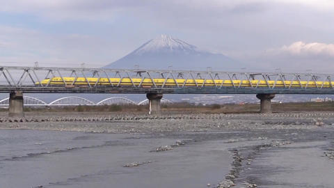 Doctor Yellow of The Shinkansen passes through Fuji River in Shizuoka Live Action