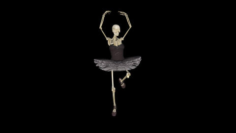 skeleton in a ballerina costume, does dance moves,transparent background Animation