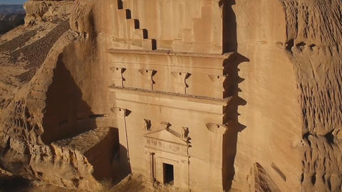 "the historical complex ""Mada'in Saleh"" (Nabataean kingdom) is located in the Footage"
