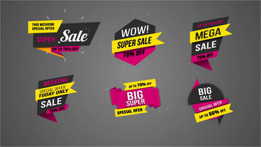 Flat sale label 3 After Effects Template
