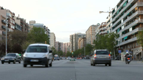 Blurred traffic in Barcelona at dusk Footage