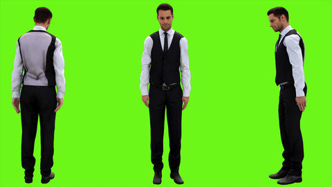 Young businessman quickly bows politely on a green screen background. Looped Animation