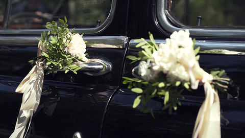 Flowers on the retro car Footage