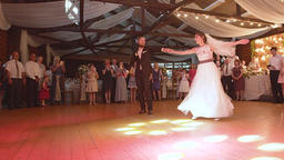 Lvov, Ukraine, August 5, 2017 Young beautiful bride and groom dancing first GIF