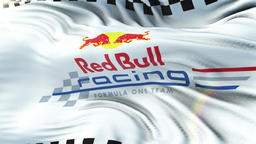 RED BULL F1 flag waving on sun. Seamless loop with highly detailed fabric GIF