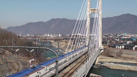 北陸新幹線E7系が、長野県上田市のハーブ橋を通過 ビデオ