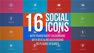 16 Animated Social Icons Plantilla de After Effects