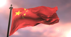 Flag of the Republic of China waving at wind at sunset, loop Animation