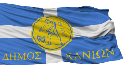 Isolated Chania city flag, Greece Animation