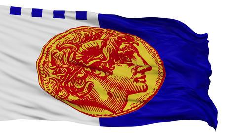 Isolated Thessaloniki city flag, Greece Animation