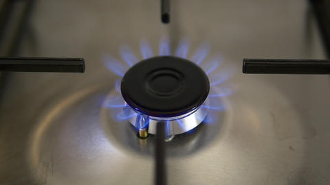 Ignition - Lighting a gas hob on an stove or oven. Turn on and off burning gas GIF