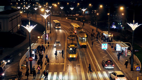 Movement in the evening time of public transport in the city of Warsaw Live Action