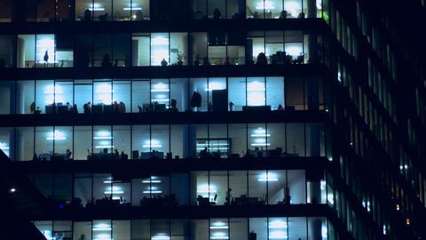 Night life of office staff Footage