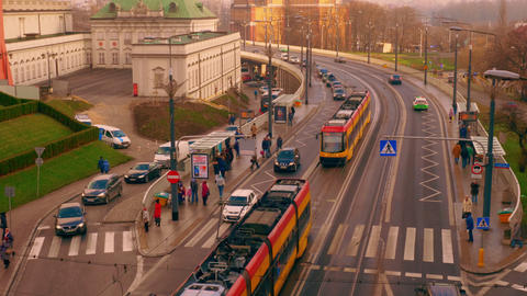 The movement of public transport in the city of Warsaw Footage
