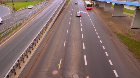 The embankment road along which cars go in the city of Warsaw Footage