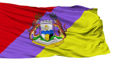 Isolated Ipoh Perak city flag, Malaysia Animation