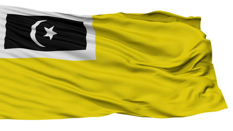 Isolated Kuala Terengganu city flag, Malaysia Animation