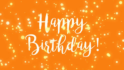 Orange Happy Birthday greeting card video Animation