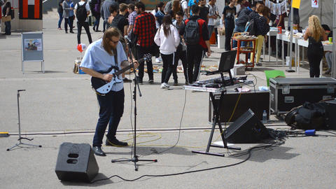 Street Music At University Campus Live Action