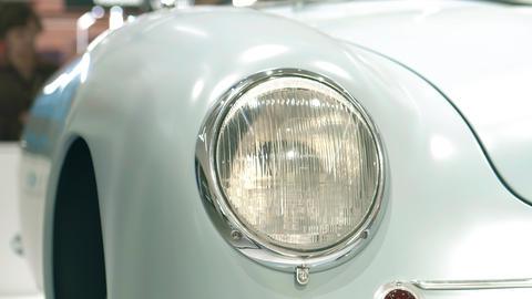 Headlight of a retro sports car Footage