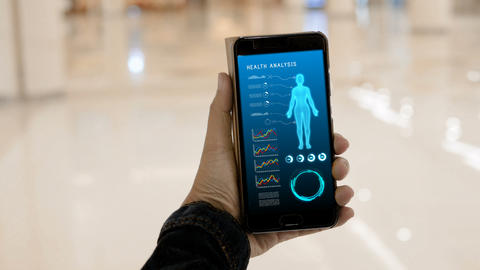 Hands of woman using smartphone with Health Analysis Application GIF