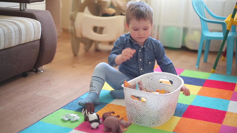 The little boy sits on the floor and plays with various animals Footage